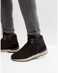 Armani Jeans - Logo Lace Up Boots In Brown/black - Lyst