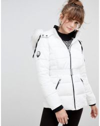 New Look - Faux Fur Belted Padded Coat - Lyst