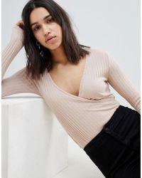 NYTT - Samantha Surplice Wrap Front Bodysuit - Lyst