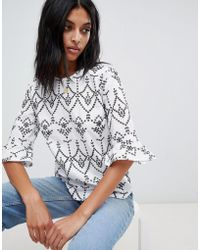 Warehouse - Flute Sleeve Broderie Blouse - Lyst