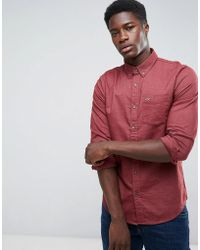Hollister | Oxford Shirt Cross Dye Slim Fit In Burgundy | Lyst