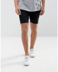 Mango - Man Raw Hem Denim Shorts In Black - Lyst