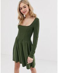 ASOS - Mixed Fabric Long Sleeve Skater Dress - Lyst