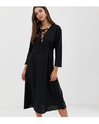 ASOS - Asos Design Tall Lace Up Midi Dress In Linen - Lyst