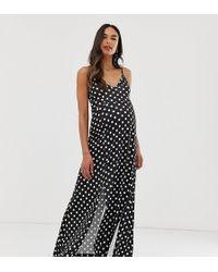2addf222c214c ASOS - Asos Design Maternity Slinky Cami Maxi Dress In Spot Print - Lyst