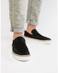 ASOS - Loafers In Black Suede With Aztec Detail - Lyst