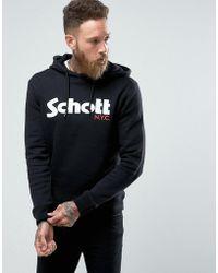 Schott Nyc - Logo Hooded Sweatshirt Slim Fit With Black - Lyst