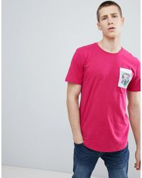 Only & Sons - Longline T-shirt With Printed Pocket - Lyst