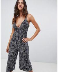 Club L - Striped Culottes Jumpsuits - Lyst