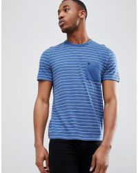Abercrombie & Fitch - Washed Block Stripe Pocket Moose Logo T-shirt In Blue - Lyst