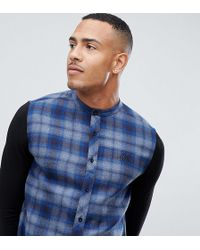 SIKSILK - Grandad Collar Check Shirt In Blue With Jersey Sleeves Exclusive To Asos - Lyst