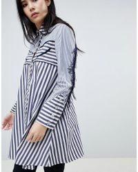 House of Holland - Contrast Stripe Shirt With Western Fringe Detailing - Lyst