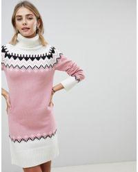 Fashion Union - Knitted Dress With Fairisle Pattern - Lyst