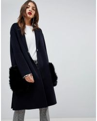 Mango - Faux Fur Pocket Over Coat - Lyst