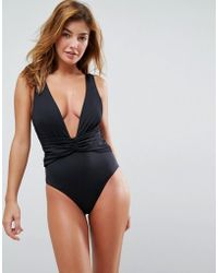 b8c655e1f9 ASOS - Recycled Plunge Ruched Front Swimsuit - Lyst