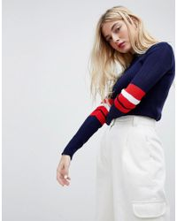 Daisy Street - Knitted Jumper With Sports Stripe - Lyst