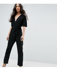 52a17860fc8 ASOS - Asos Design Tall Wrap Jumpsuit With Self Belt - Lyst