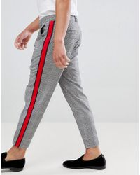 Bershka - Check Trousers In Grey With Side Stripe - Lyst