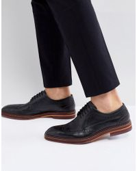 Ted Baker - Gourduns Leather Brogue Shoes In Black - Lyst