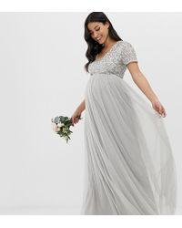 a07a0ea7ba67 In saldo Maya Maternity - Vestito lungo da damigella in tulle grigio tenue con  scollo a V e