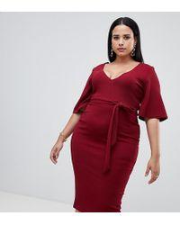 d0459b984223 Missguided - Vestito midi rosso con scollo profondo e maniche a kimono -  Lyst