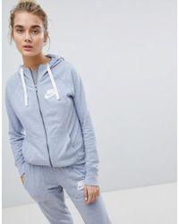 Nike - Gym Vintage Full Zip Hoodie In Glacier Grey - Lyst