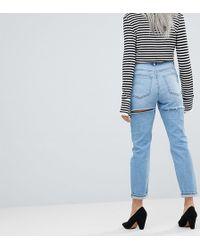 ASOS Asos Design Petite Farleigh High Waist Slim Mom Jeans In Ariel Light Stone Wash With Bum Rips