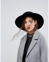 ASOS - Felt Boater Hat With Chin Tie - Lyst