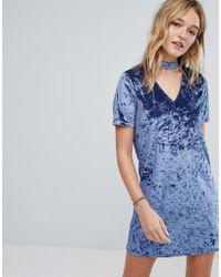 Hollister - Crushed Velvet Choker Dress - Lyst