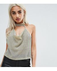 69bc77e10cd207 Missguided Carli Bybel X Silver Chain Mail Cowl Bralet in Metallic ...