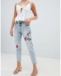 ONLY - Tonni Floral Embroidered Jeans - Lyst