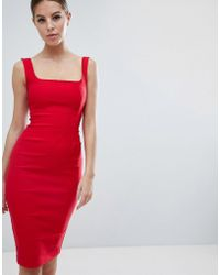 Vesper - Square Neck Pencil Dress In Red - Lyst