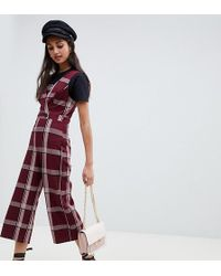 Miss Selfridge - Jumpsuit With Button Detail In Burgundy Check - Lyst