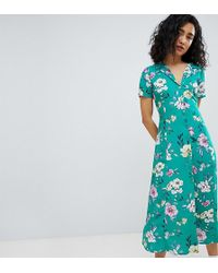 a59d349a0 Bershka Floral Midi Shirt Dress In Black in Black - Lyst