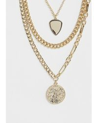 Pieces - Chunky Gold Layered Coin Necklace - Lyst