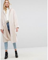 ASOS - Asos Hooded Belted Shawl Collar Coat - Lyst