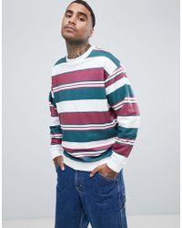 ASOS DESIGN - Oversized Sweatshirt In Retro Stripes - Lyst