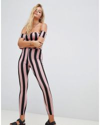 Motel - Off Shoulder Unitard In Stripe Print - Lyst