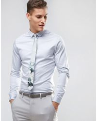 ASOS - Wedding Slim Fit Sateen Shirt With Turned Back Placket In Lt Blue - Lyst