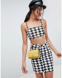 ASOS - Denim Crop Top With Skinny Straps In Houndstooth - Lyst
