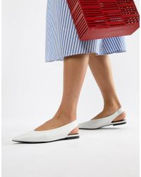 Mango - Flat Leather Sling Back Shoe In White - Lyst