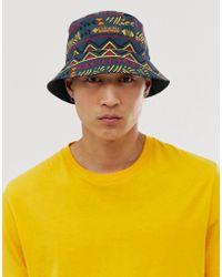 Columbia Roatan Drifter Reversible Bucket Hat In Shadow Print - Black