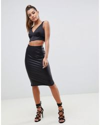 ASOS - Sculpt Me Leather Look Pencil Skirt - Lyst