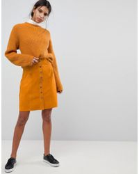 SELECTED - Femme Suede Button Up Skirt - Lyst
