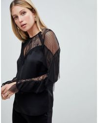 Lipsy - Lace And Mesh Top With Ruffle Sleeve - Lyst
