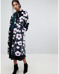 Warehouse | Daisy Print Faux Fur Coat | Lyst