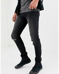 D-Struct - Skinny Fit Ripped Knee Denim Jeans In Washed Black - Lyst