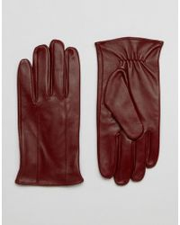Barneys Originals - Barneys Leather Gloves In Oxblood - Lyst