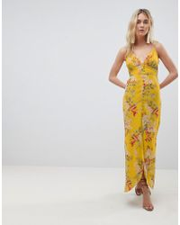 Hope and Ivy - Hope & Ivy Cami Strap Button Front Maxi Dress With Cutout Back In Floral Print - Lyst