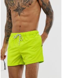 d23da1993a ASOS Swim Shorts With Neon Flamingo Print In Mid Length in Pink for Men -  Lyst